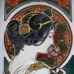 ミュシャ・桜草のステンドグラス 桜草の彩色