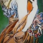 ミュシャ・桜草のステンドグラス ようふくの彩色