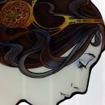 ミュシャ・桜草のステンドグラス 髪の毛の彩色