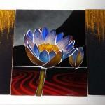 エナメル絵付けのワークショップ・花のステンドグラス 小パネル 絵付けの終盤