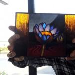 エナメル絵付けのワークショップ・花のステンドグラス 小パネル 4日目 05