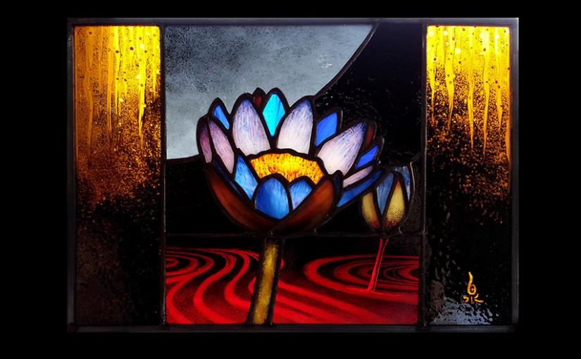 エナメル絵付けのワークショップ・花のステンドグラス 小パネル 4日目 06