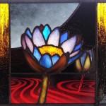 エナメル絵付けのワークショップ・花のステンドグラス 小パネル 絵付け 完成